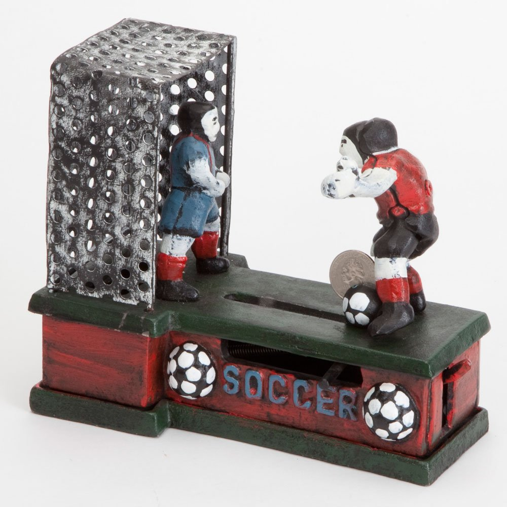 Bits and Pieces - Soccer Mechanical Coin Bank - Collectible Cast Iron Mechanical Bank - Score a Goal and Save by Bits and Pieces (Image #2)