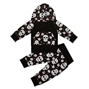 Halloween Newborn Kids Clothing Baby Boys Girls Hooded Sweater Pullover Tops+Long Pants Trosuers Outfit Clothes Set (Black, 0-6 Months)
