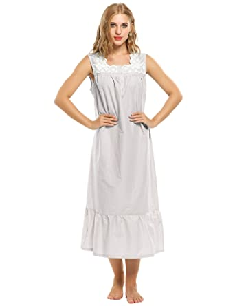 786557c223 Cooshional Ladies Nightgown Lace Cotton Nightdress Embroider Nightie  Sleepwear with Buttons Victorian Style  Amazon.co.uk  Clothing