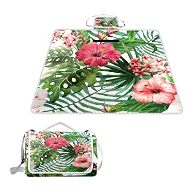 """TSWEETHOME Tropical Floral Square Picnic Outdoor Camping Beach Blanket Mat with Waterproof SandProof for Camping, Park, Beach, Hiking, Family Concerts(57""""x59"""") : Garden & Outdoor"""