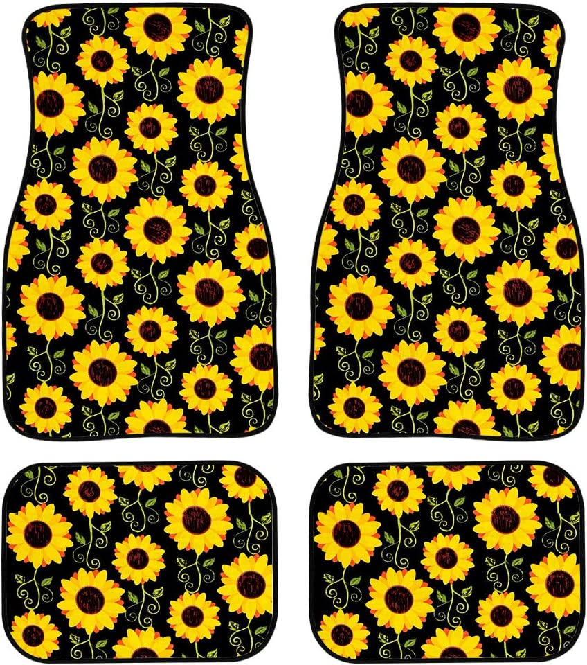 Upetstory Sunflower Print Floor Mats for Car SUV /& Truck Heavy Duty Protection Floor Mats with Non-Slip Backing Universal 4 Piece