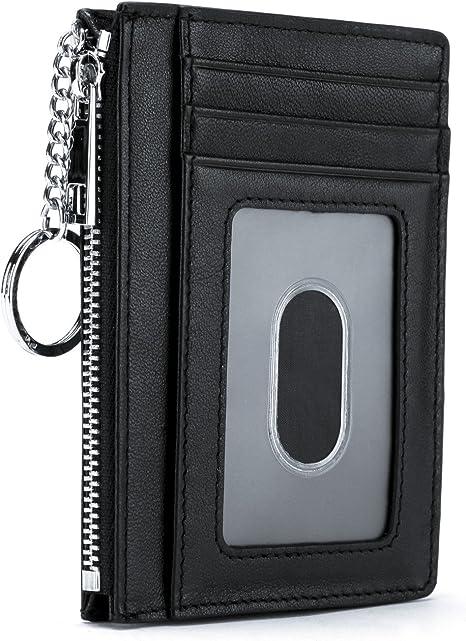 Genuine Leather Keychain Card Bill Holder Men/'s Key Ring Wallet