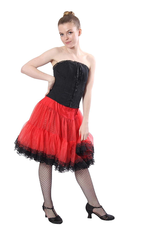 Tracht und Trachten Ideal zu Rock Kleid Kost/üm Twist Swing Malco Modes knielanger weicher Chiffon Unterrock Petticoat Slip mit Spitzen Dirndl oder Fas Schlager Style 580 Gothic oder Tellerrock f/ür Rockabilly Rockn Roll Square Dance