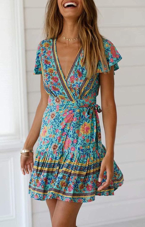 ZESICA Women s Summer Wrap V Neck Bohemian Floral Print Ruffle Swing A Line  Beach Mini Dress 18f014a42