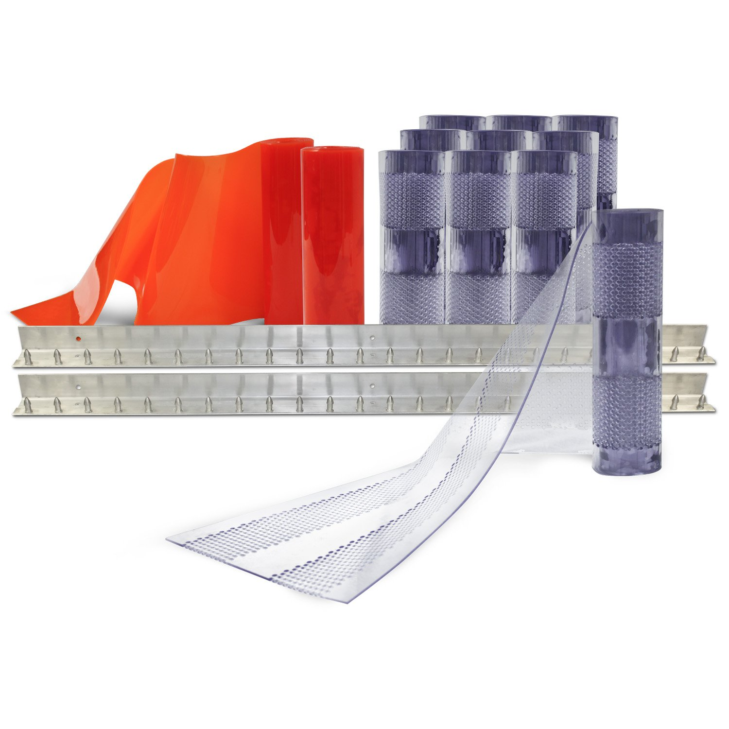 Aleco 443575 Clear-Flex II Standard AirStream Perforated PVC Strip Door Kit with MaxBullet Aluminum Mounting Hardware, 12'' Width x 96'' Height x 0.12'' Thick