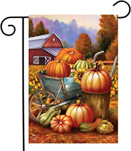 "Briarwood Lane Pumpkin Farm Fall Garden Flag Cart Autumn Barn 12.5"" x 18"""
