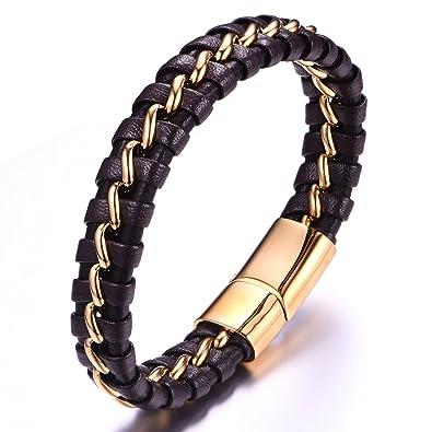 af4dbdca651f Pulsera hombres Cuero negro con 18 K chapado en oro cadena de acero  inoxidable cierre magnético 21