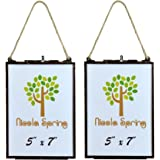 Nicola Spring Hanging Glass Vintage Photo Frame With Rope - 5x7 Photos - Pack Of 2