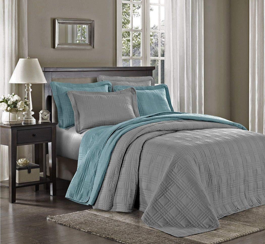 Chezmoi Collection Kingston 3-piece Oversized Bedspread Coverlet Set King, Gray