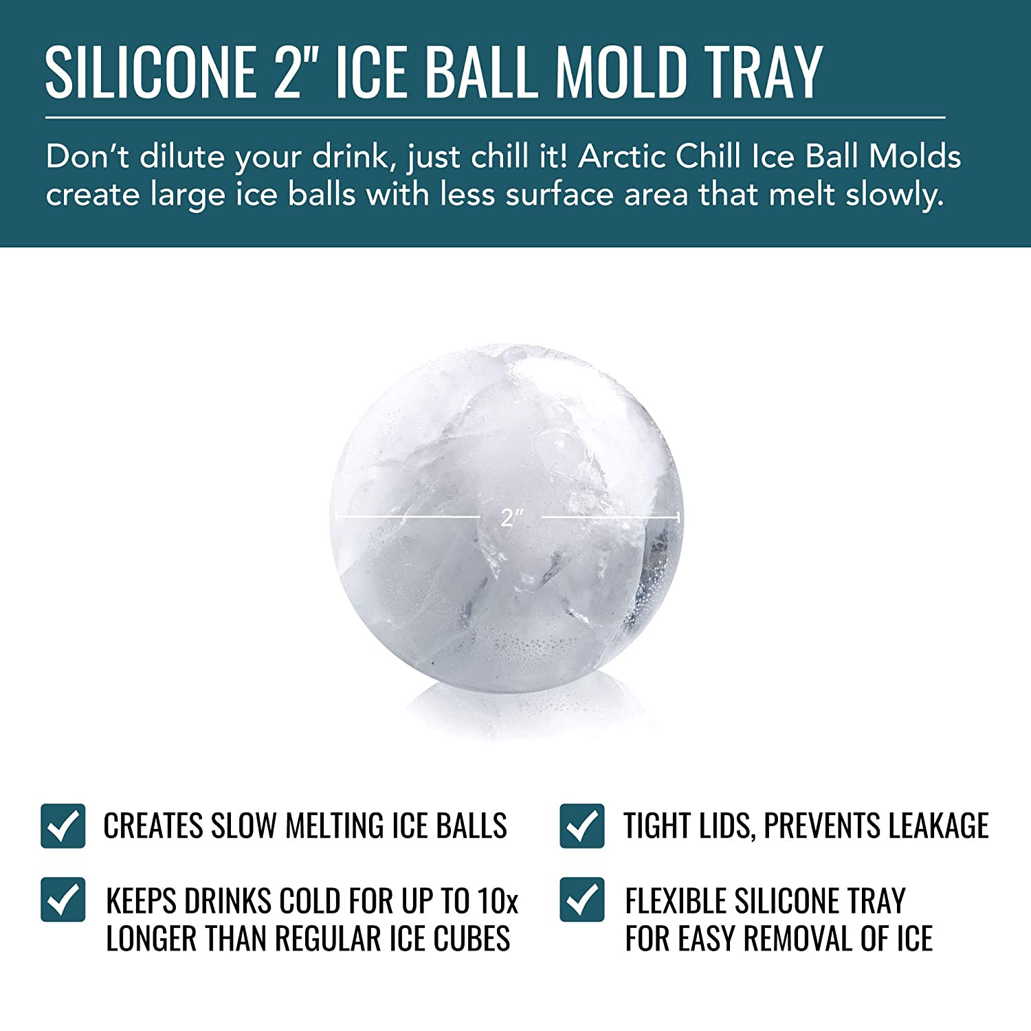 2 Ice Ball Mold By Artic Chill Makes Eight 8 Cool Cold Ice2 Cooling Pad 156 Inch Spheres Keeps Your Whiskey Chilled Longer Than Cubes Made From Bpa Free And