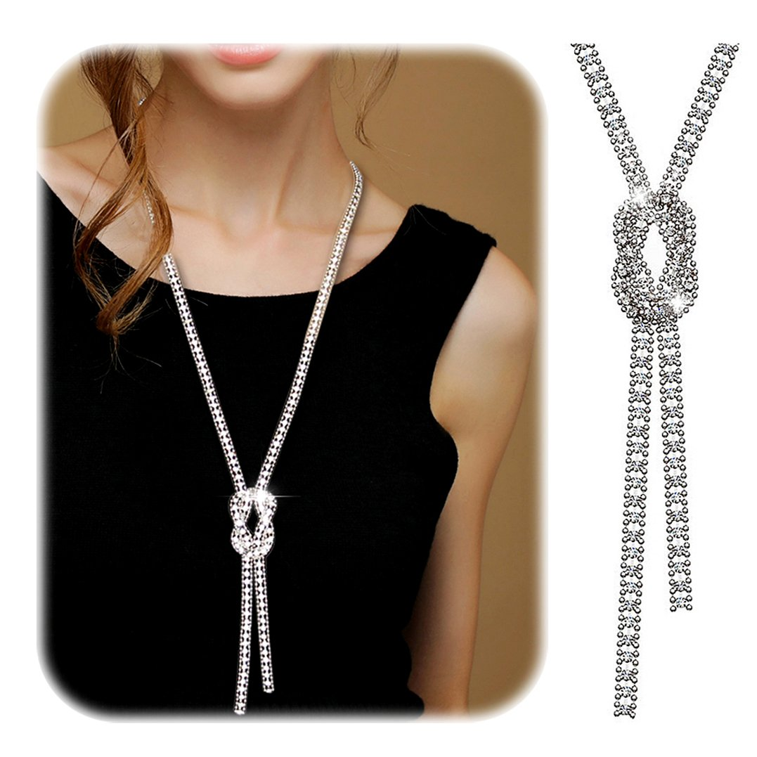 Suyi Trendy Crystal Long Necklace All-Match Style Shining Clothing Sweater Chain Silver