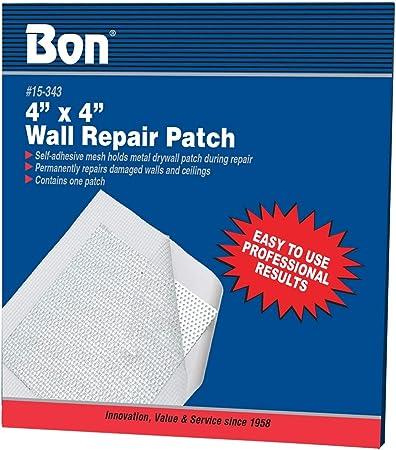 Bon 15-343 Parche autoadhesivo de reparación de pared de 10 x 10 cm, paquete de 1: Amazon.es: Bricolaje y herramientas