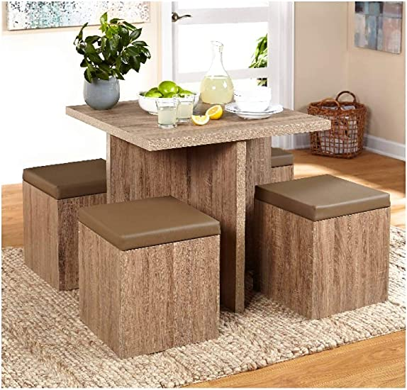 Kitchen Dining Table Storage Set 5 Piece Padded Ottoman Space Saver Furniture