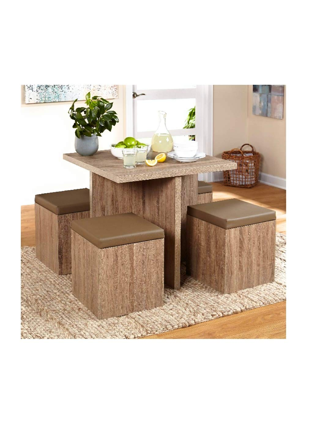 Simple Living 5-piece Baxter Dining Set with Storage Chair Ottomans Taupe