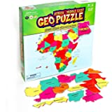 GeoToys — GeoPuzzle Africa and the Middle East — Educational Kid Toys for Boys and Girls, 65 Piece Geography Jigsaw Puzzle, J