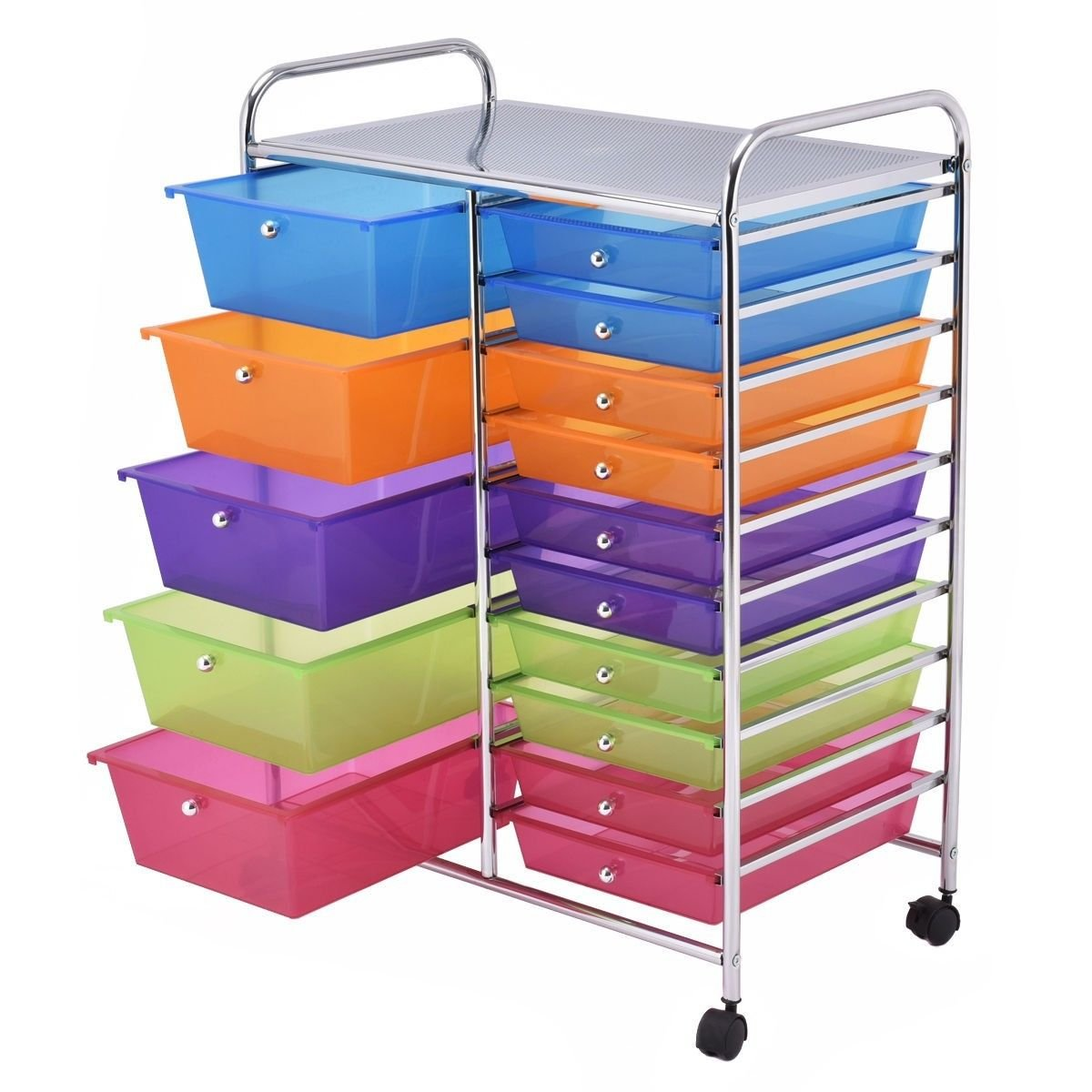 Lucky119 Rolling Portable Organizer Storage Cart Plastic Bins for Kitchen Office 15 Drawer