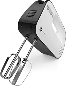 Vremi 3-Speed Compact Hand Mixer with Clever Built-In Beater Storage - Handheld Egg Beater with Stainless Steel Blades - Heavy Duty Mini Small Kitchen Mixing Machine - Black and White