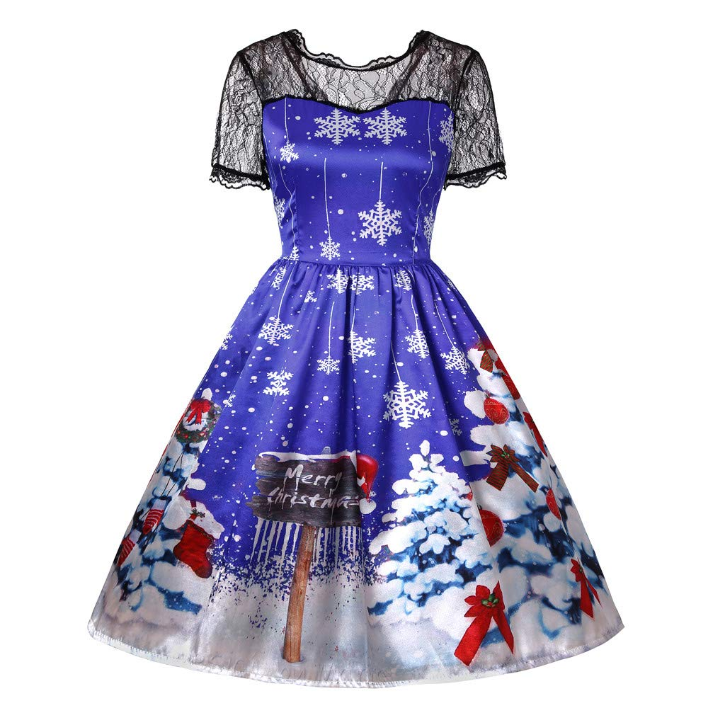 3f19cc7da98e Christmas Womens Vintage Lace Dresses baskuwish Xmas Santa Short Sleeve  Printed Swing Party Dress Gift at Amazon Women's Clothing store:
