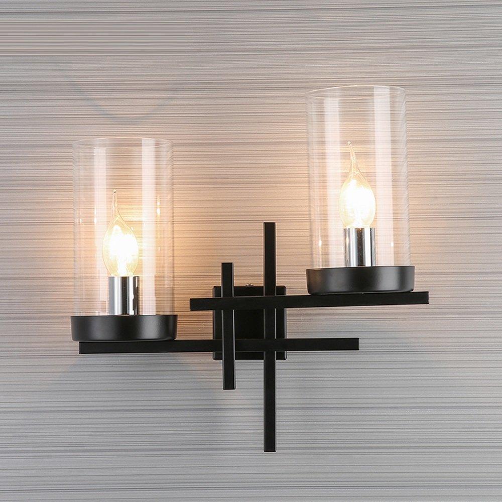 JIE KE Wandleuchte - Nordic Modern Schmiedeeisen Lampe Kreative Doppelkopf Led Wandleuchte Transparente Glas Lampenschirm Schlafzimmer Wohnzimmer Studie Korridor Beleuchtung Wandleuchte Kreative Wandl