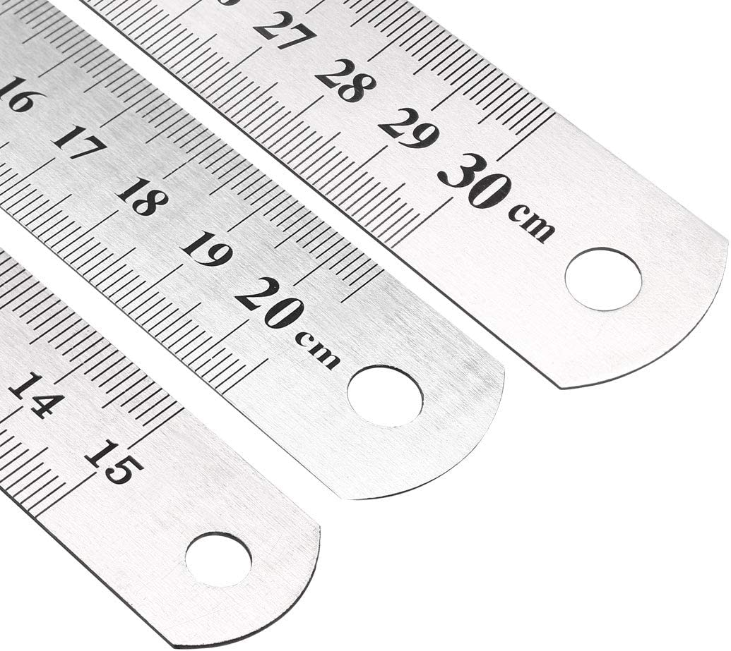 Measuring Ruler Metal Ruler 8 inch Ruler 12 inch Ruler 8 6 inch Ruler 6 sourcing map 2 Set Steel Rulers Ruler Inches and Centimeters 12 inch Rulers