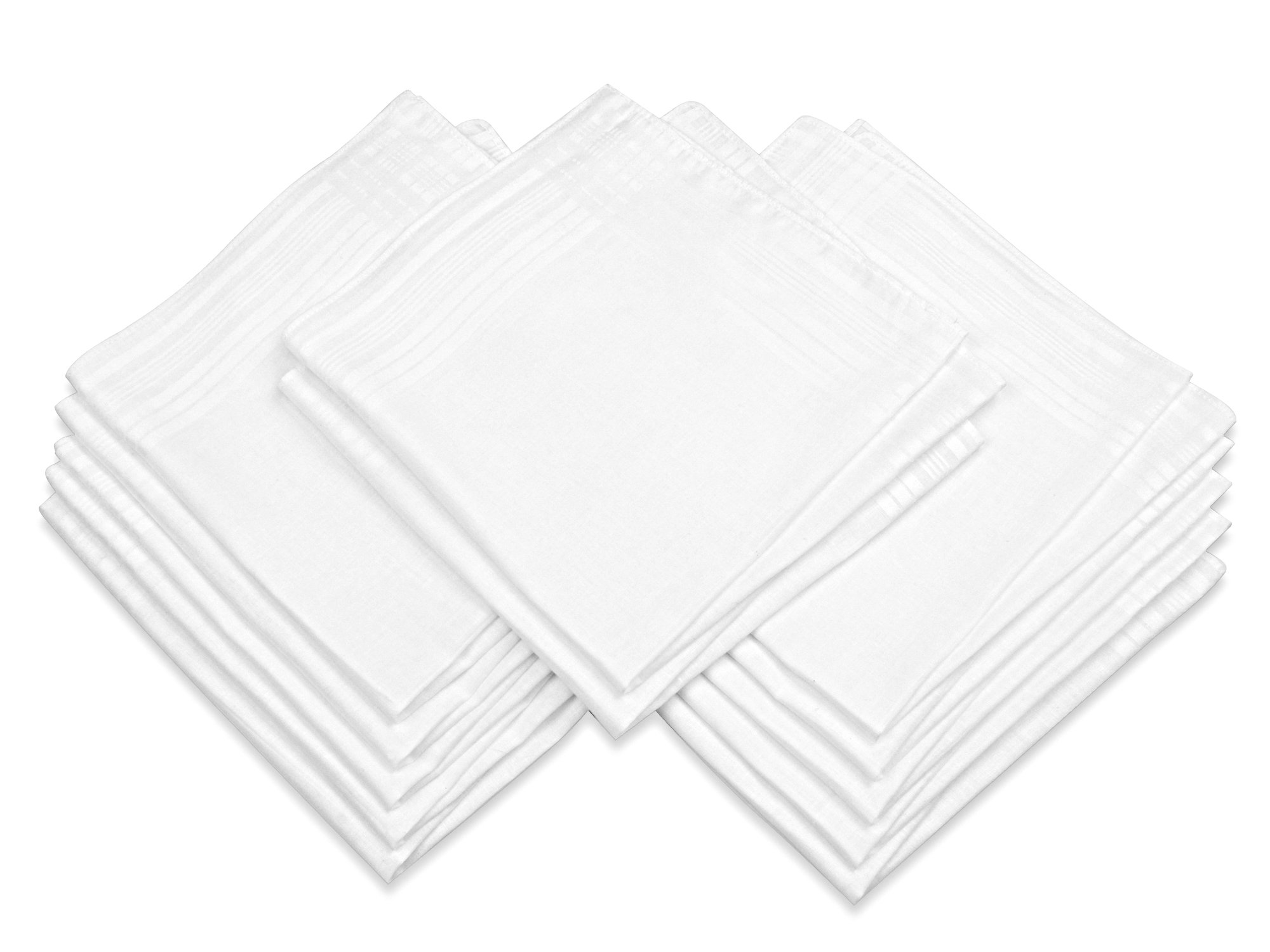 Milesky Men's Cotton Handkerchiefs Solid White Square 16 x 16'' - 12 Pack (MHW03)