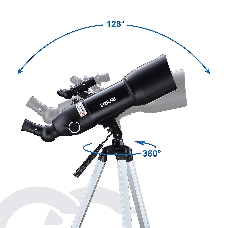 ESSLNB Telescopio Astronomico Professionale con Treppiede Regolabile e Adattatore Telefonico 70mm Completamente Rivestito Lente Barlow Lente