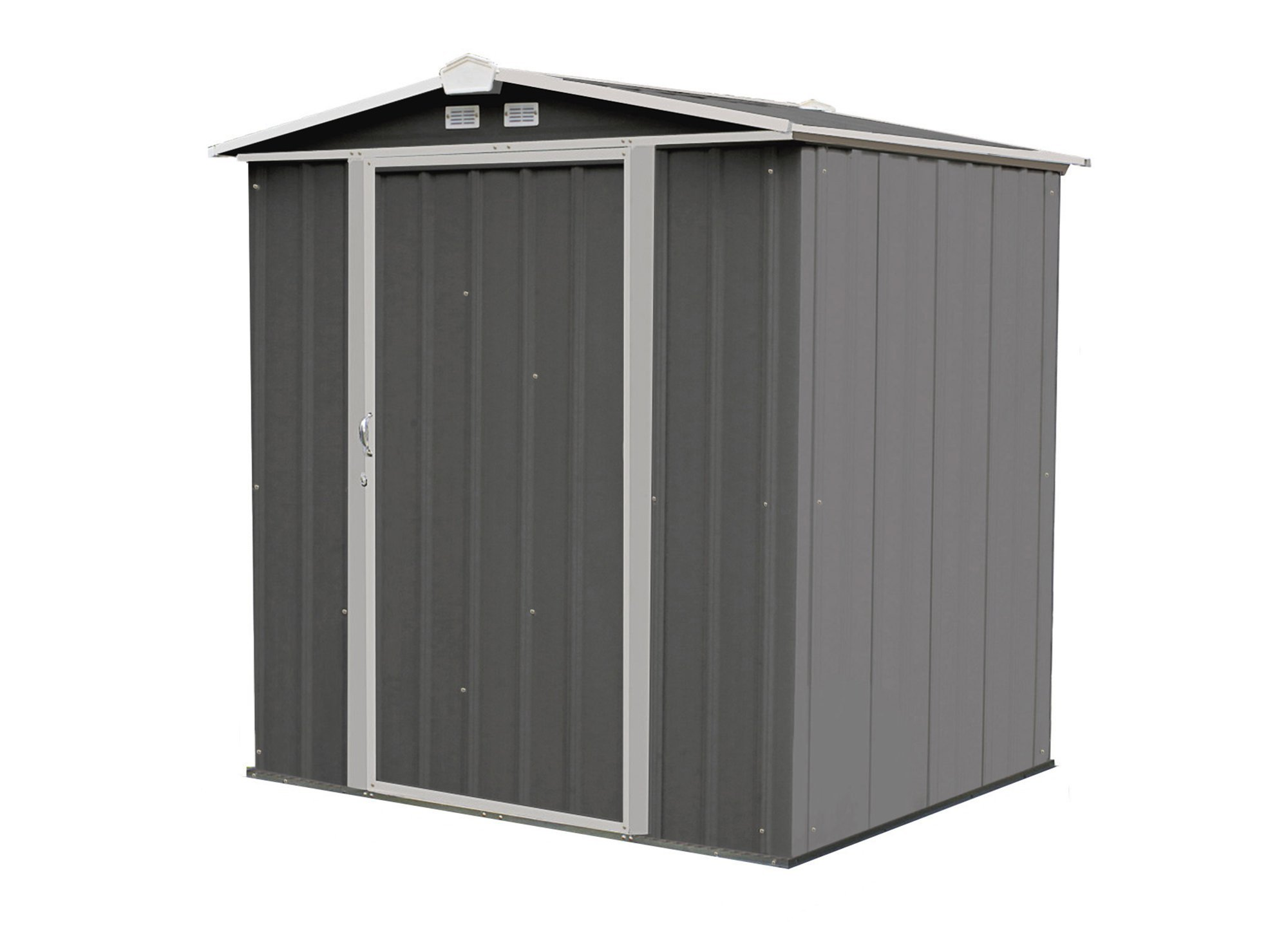 Arrow EZ6565LVCCCR 6' x 5' Steel Storage Shed in Charcoal with Cream Trim
