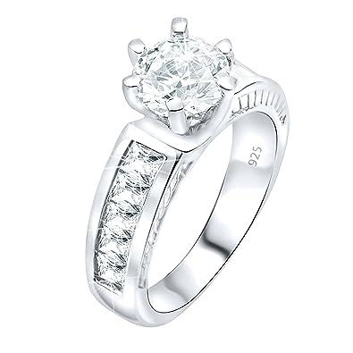 49c934c61608c Amazon.com: Women's Sterling Silver .925 Cubic Zirconia (CZ) Bridal ...