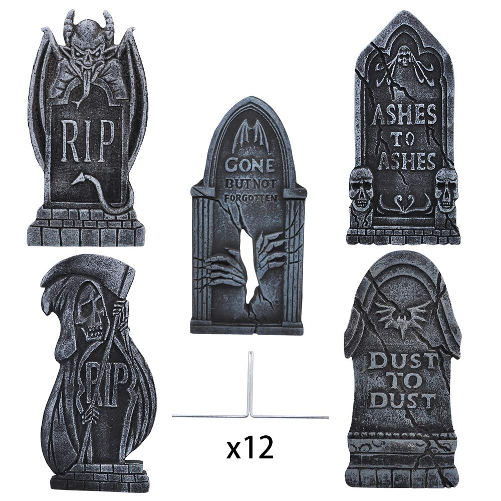 17'' Halloween Foam RIP Graveyard Tombstones (5 Pack), Headstone Decorations with Different Styles and 12 Bonus Metal Stakes for Halloween Yard Decorations by JOYIN