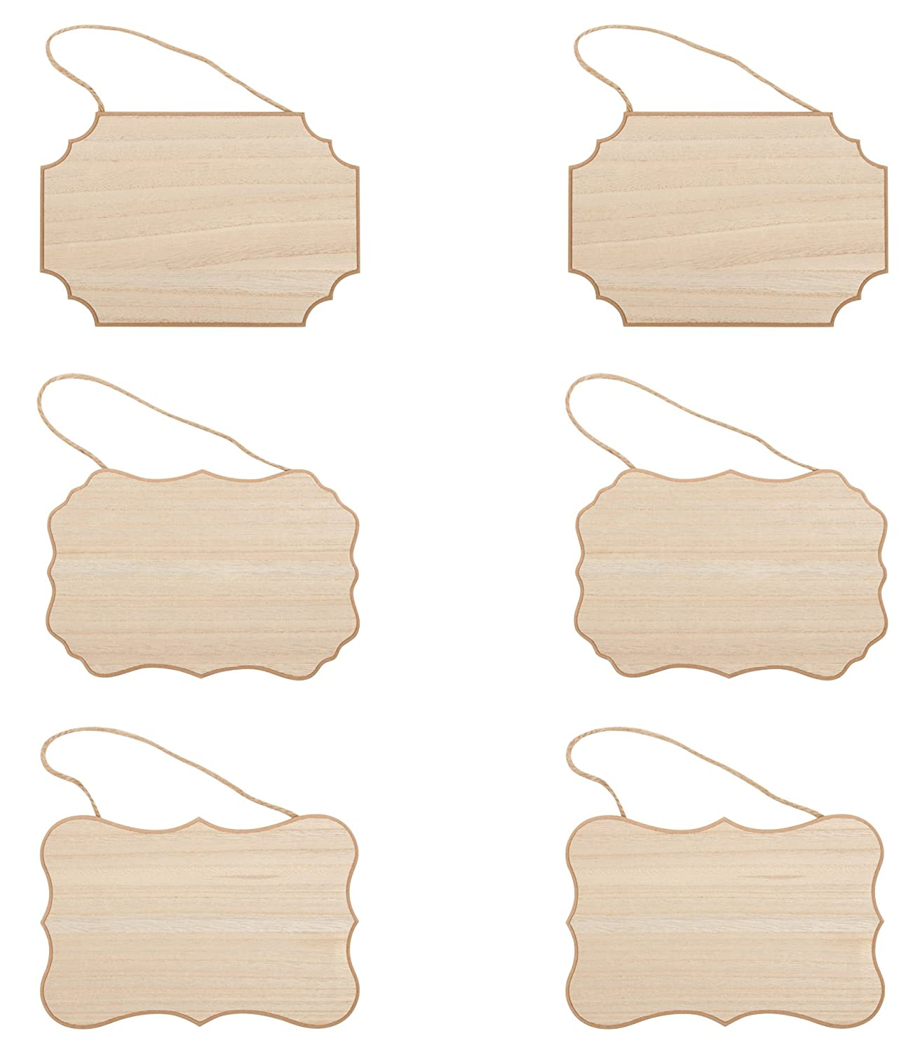 Unfinished Wood Plaque - 6-Pack Hanging MDF Wooden Plaque with Jute Rope, Rectangle Rustic Signs for Home Decor, Award Recognition, DIY Projects, 2 Each of 3 Designs, 9 x 6 x 0.25 Inches