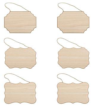 Amazon.com: Placa de madera sin acabar, 6 unidades, placa de ...