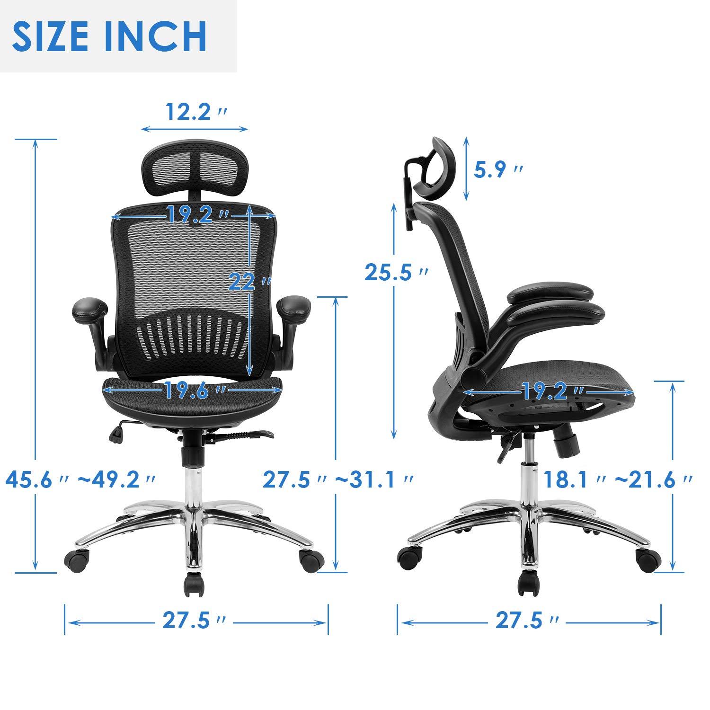 Merax Ergonomic Mesh Adjustable Home Desk Chair Office Chair Modern New Design Reclining Chair by Merax (Image #7)