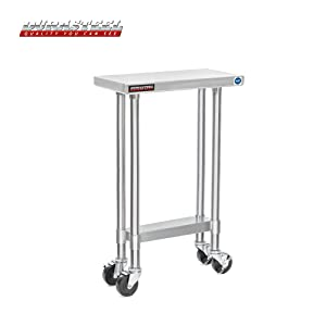 "DuraSteel Stainless Steel Work Table 24"" x 12"" x 34"" Height w/ 4 Caster Wheels - Food Prep Commercial Grade Worktable - NSF Certified - Good for Restaurant, Business, Warehouse, Home, Kitchen, Garage"