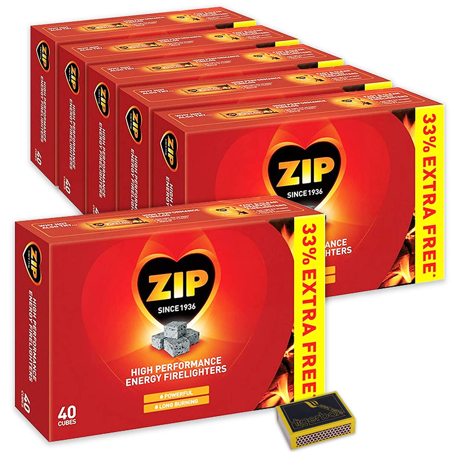 6 X Packs of 40 Zip High Performance Energy Block Firelighters. Long Burning, Powerful & Reliable for Open Fires, Stoves, BBQs & Tigerbox Safety Matches Zip & Tigerbox