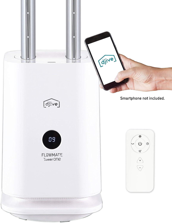 djive Flowmate Tower One Torenventilator, stille ventilator met app & Alexa-bediening, luchtreiniger met HEPA-12 filter rood wit F59TAhwq