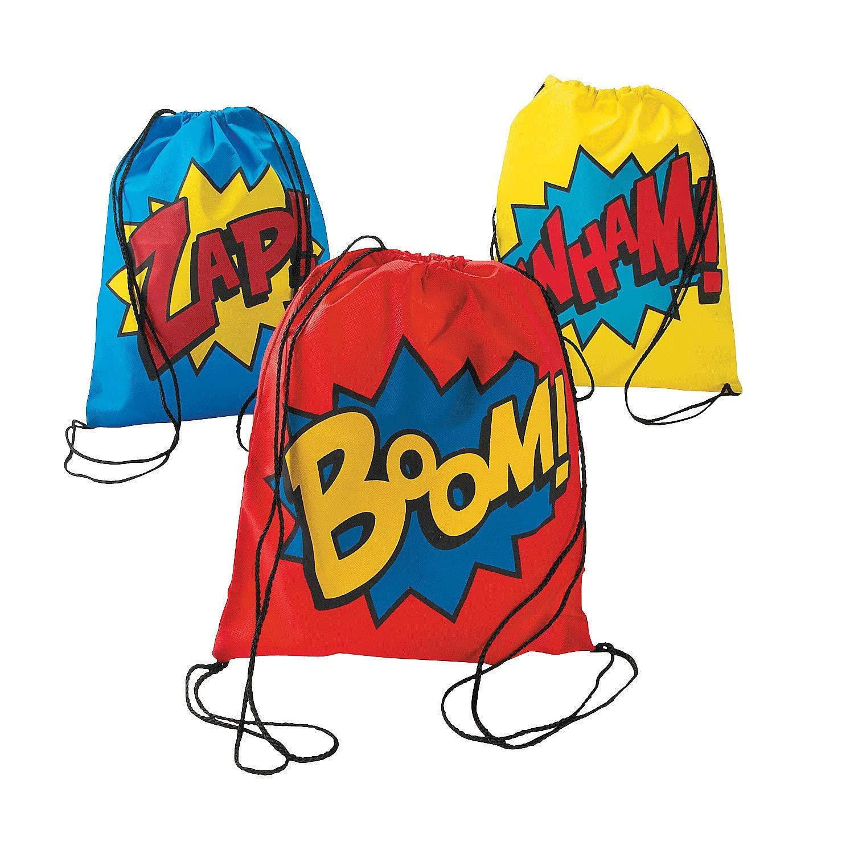 Superhero Drawstring Backpacks - 12 ct Party Favors AX-AY-ABHI-107733