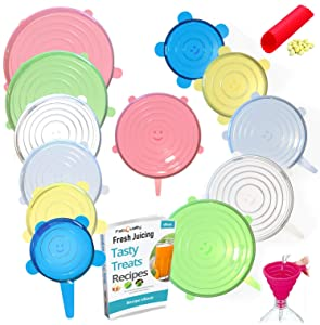 FabQuality 15PCS - Silicone Stretch Lids 13pcs, with oil funnel and garlic peeler Various Sizes and Shape of Containers,Reusable, Durable and Expandable Food Covers, Keeping Food Fresh, Dishwasher and