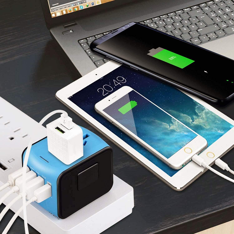 Bleu 4usb Adaptateur de Voyage Universel Bothink Tout-en-Un Multi-Nation Adaptateur Chargeur de Voyage avec 4 Ports USB Prise Internationale avec Un Fusible de Rechange pour US//UK//AUS//EU