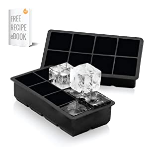 Arctic Chill 2'' Silicone Ice Cube Trays Set of Two (2) Ice Trays   Perfect Large Whiskey Ice Cubes   BPA-Free   FDA-Approved   Dishwasher and Microwave Safe