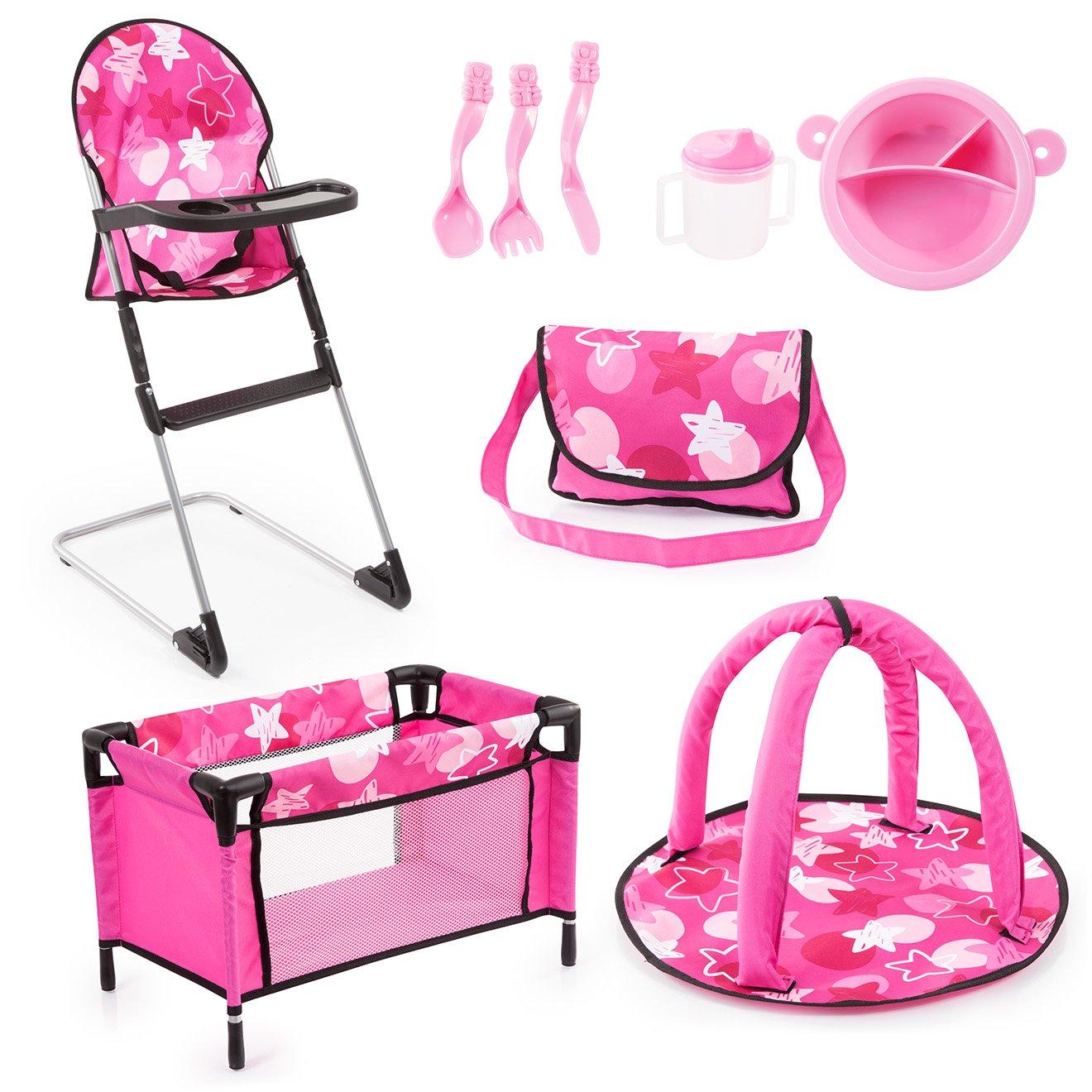 Bayer Design 61749AB Puppen Set 9 in 1 mit Reisebett, Tasche, Spielbogen, Hochstuhl, Plastik Geschirr, Puppenzubehö r, rosa pink sterne Bayer-Design