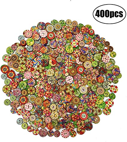 Natural Assorted Wooden Craft Buttons 40-Count