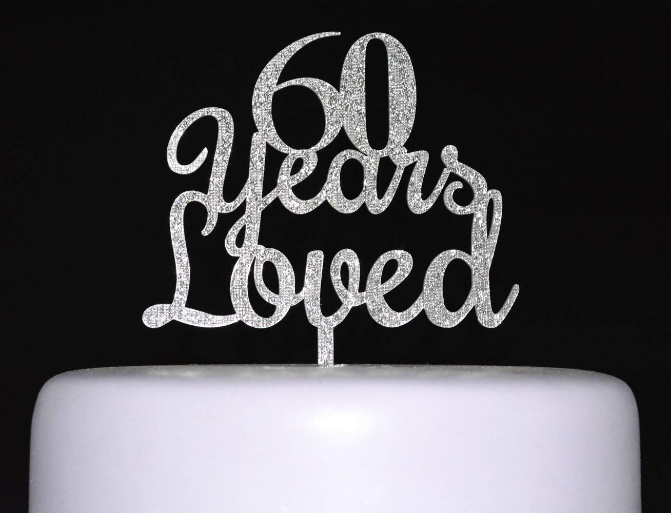 Qttier 70 years loved Happy Birthday Cake Topper 70th Anniversary Party Decoration Premium Quality Acrylic Silver B-P03