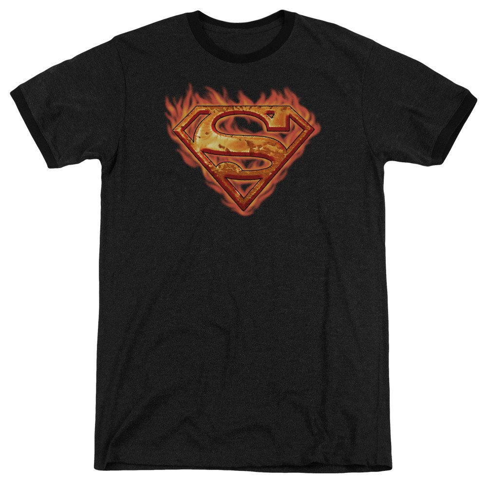Superman Shirt S Hot Metal Adult Ringer T
