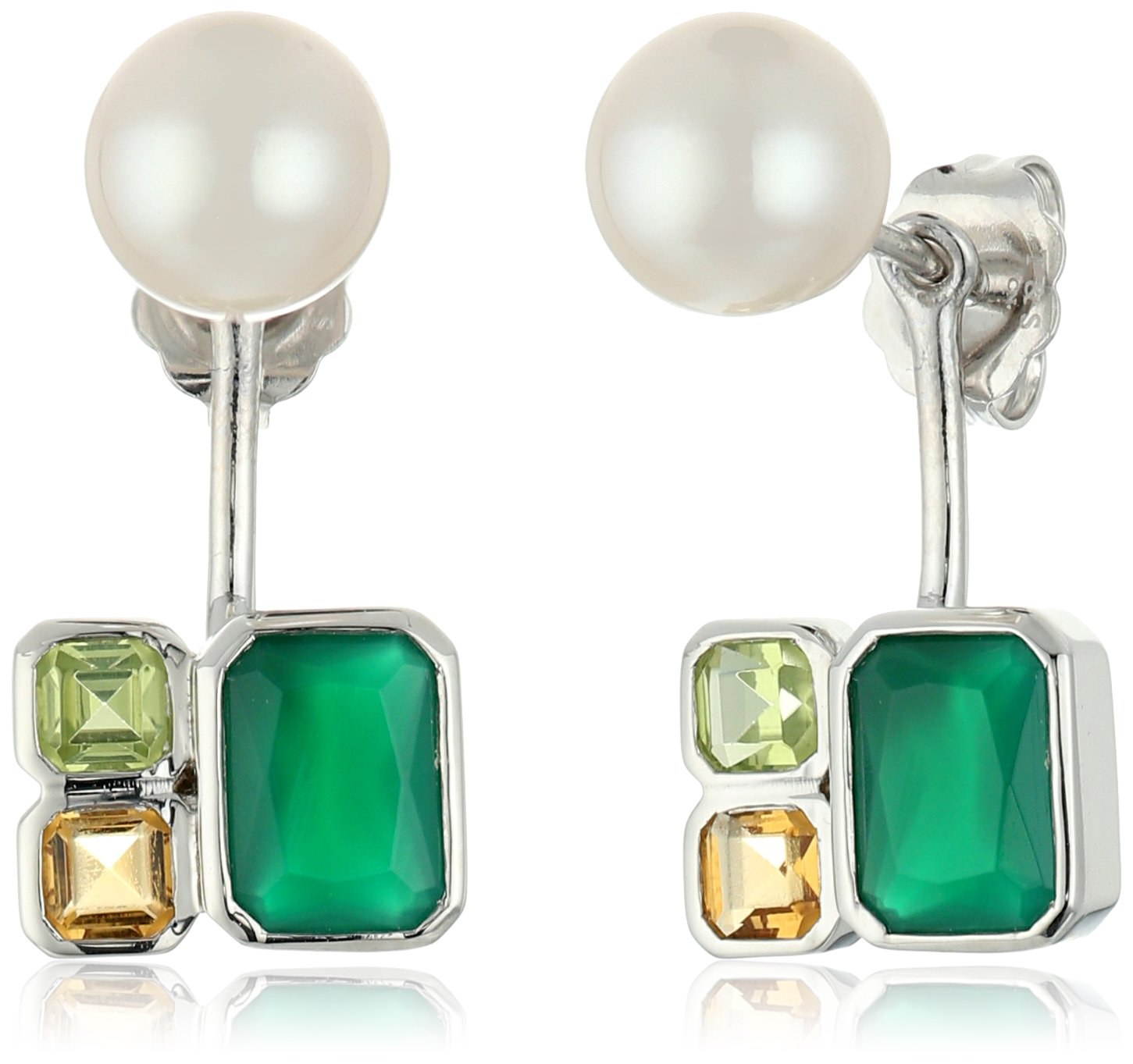 TARA Pearls 7X7.5mm Akoya Pearls, White Topaz, Peridot and Green Agate Jacket Sterling Silver Earring Jackets