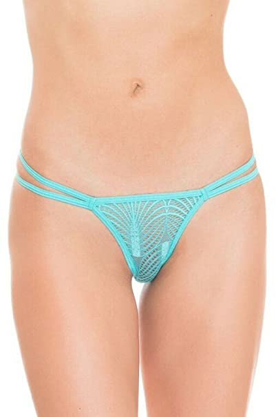 0c0dbb40b394 GB Intimates Teal Strappy Lace Brazilian Thong Underwear Women's Panties  See Through Panty (Large) at Amazon Women's Clothing store: