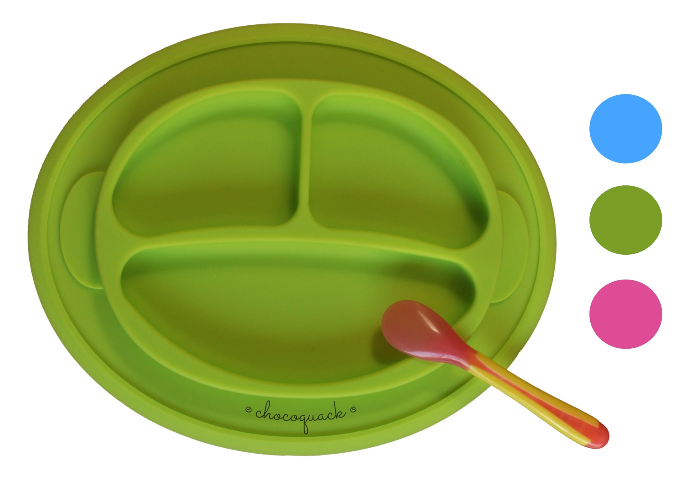 Non-slip Suction Placemat Combo. Includes Monkey Silicone Placemat and Blue Spoon for Baby, Toddler & Kids. Ideal for Highchair Feeding, Kitchen Dining Table and Outdoors.