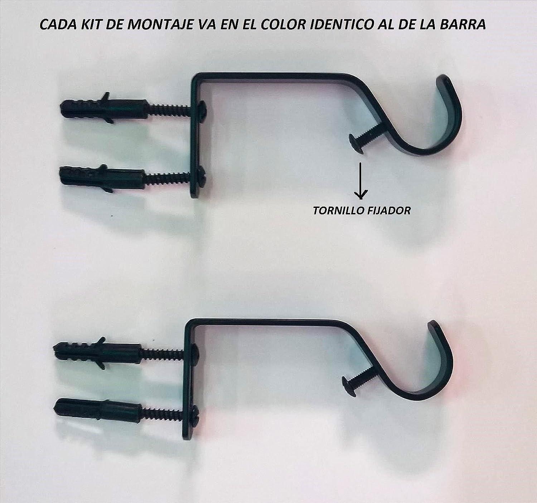Barra de 19-16 mm de Grosor Extensible 160-310 cm ForenTex Barra de Cortina, con Cabezales Decorativos y Kit de f/ácil instalaci/ón incluidos Q20212 Plata Oscuro Pulido