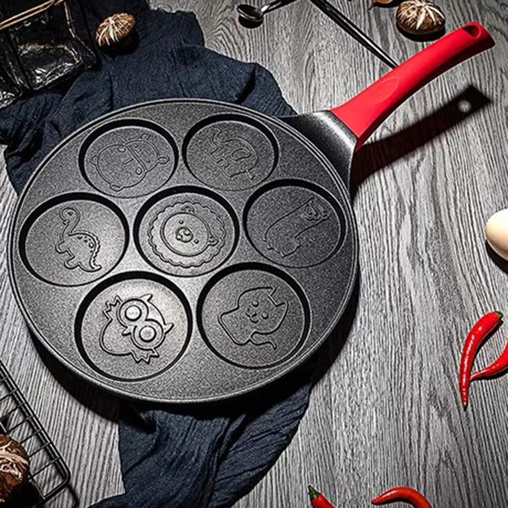 Baking molds,longdelaY6 7-Grid Smiley Face Animal Pancake Pan Emoji Breakfast Aluminum Nonstick Maker - Black Red A by longdelaY6 (Image #7)