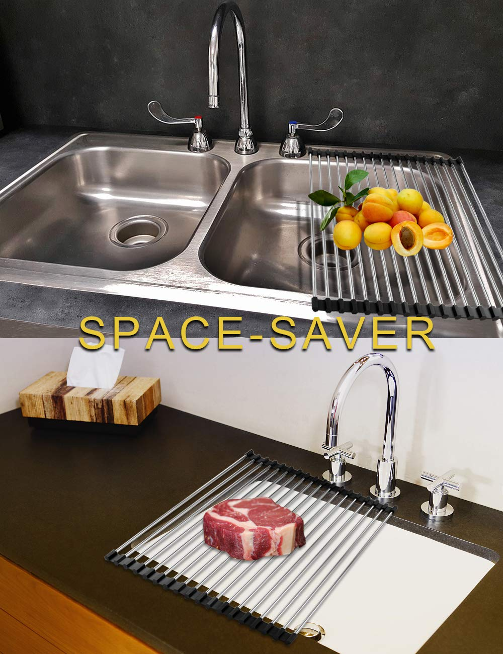 Roll-Up Dish Drying Rack Stainless Steel Over the Sink Multipurpose Folding Rack Dry Dishes Organizer Silicone Coated Rims Kitchen Sink Rack for Pans Bottles Bowls Vegetable x 13.5 W 14.5 14.5 L W ect ect L x 13.5