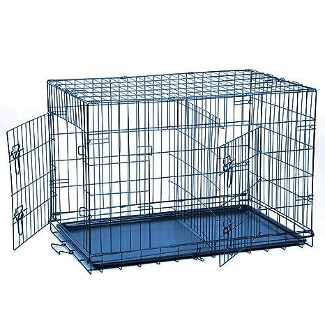 levpet jaula plegable de metal mascota gato perro doble puerta 2 ...